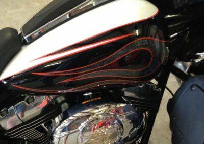 custom pinstripes on motorcycle tank